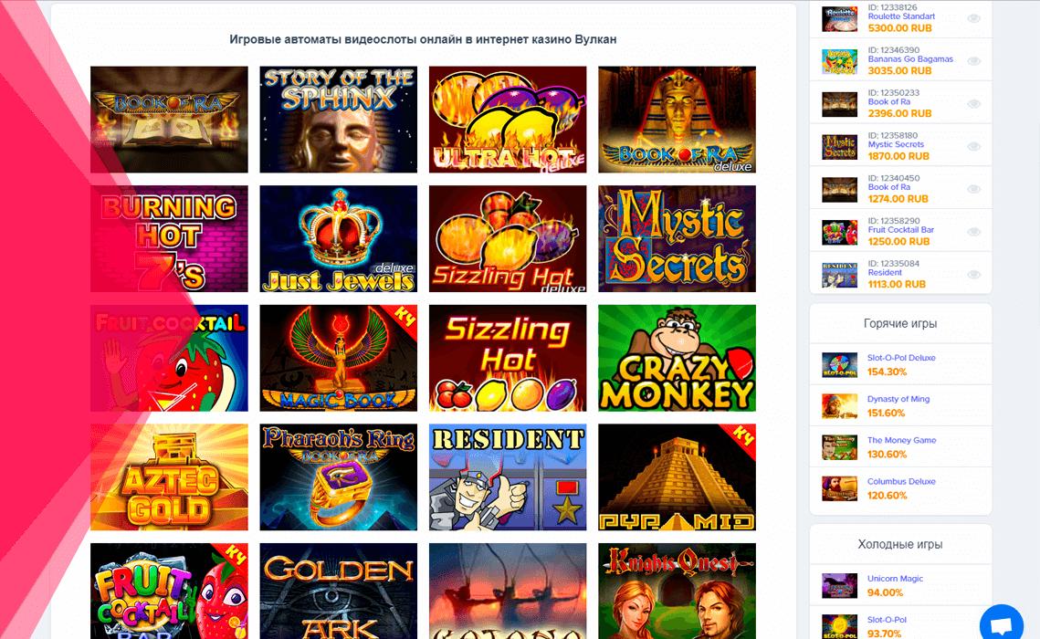 Ігри в онлайн казино Вулкан Україна