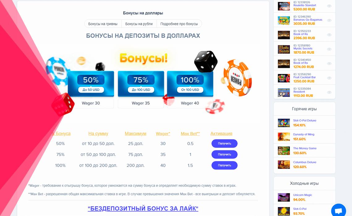 Бонусна програма в онлайн казино Вулкан Україна